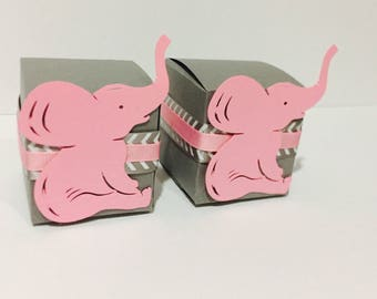 Pink and  Gray Favor Boxes, Chervon Pink and Gray Favor Boxes
