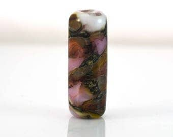 Pink and Silvered Ivory Handmade Glass Lampwork Bead