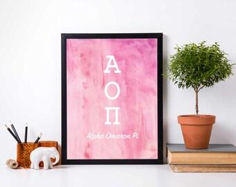 Watercolor print, Greek Letters Art, Watercolor sorority gift, sisterhood gift, best friend gift, big little sorority, watercolor art print