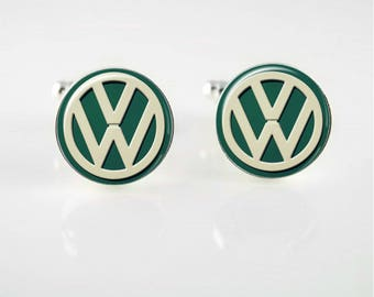 Vintage VW Emblem Cuff Links or Tie Clip