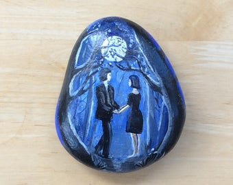 The Lovers, painted on Wharfe river stone stone. Larger altar stone, maybe, or just an illustration piece. Moon Wiccan Pagan Goddess Mother