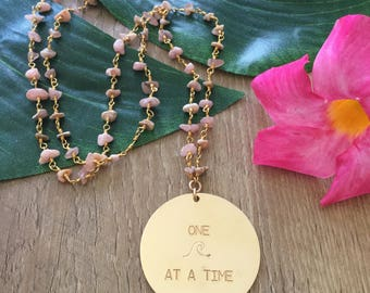 New! Large One Wave At A Time Gold Fill Beaded Disc