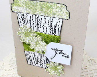 Wishing You Well - Beverage Card - Floral Card - Striking Green Card - Black and White - Bright Green Accents - Blank Card - Burlap Accent