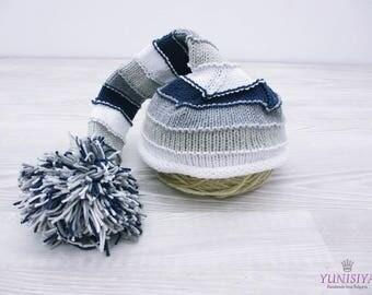 Crochet baby hat Baby boy hat Crochet hat Elf Hat Hat with Pom Pom Striped elf hat White Gray hat  Crochet photo prop Crochet elf hat