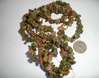 Unakite chip strand 34 strand 34 inch gemstone strand long gemstone strand green gemstone strand long strand gems chip strand unakite gems