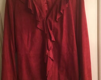 Rust Suede Leather Ruffled Shirt Size 14