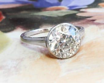 Antique Diamond Engagement Solitaire Ring 2.25ct Old European Cut Diamond Anniversary Wedding Ring Platinum