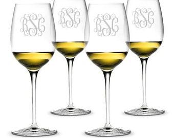 Monogrammed All Purpose Wine Glasses SET OF 4 16oz