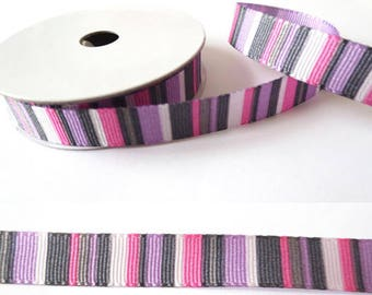 2 m x fancy 10mm purple striped grosgrain Ribbon