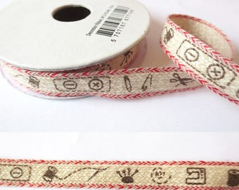 1.8 m x cotton fancy 10mm linen sewing/Red Ribbon