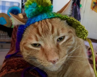 Pom-Pom Crochet Hat For Cats, Winter Hat For Your Cat, Cats in Hats, Colorful Hat For Your Cat