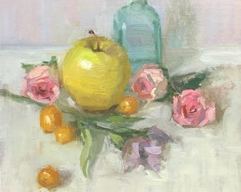 A few Favorite things Original oil painting by Bhavani Krishnan Green apple Pink roses green bottle still life Fruit Kitchen art small 8x8
