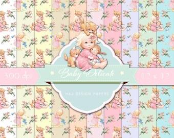 Baby digital paper, nursery paper pack, baby girl digital paper, digital backgrounds for scrapbooking, planner stickers, card making