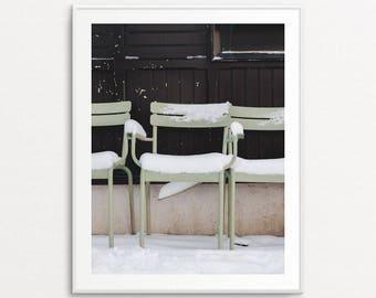 Paris Cafe Chairs - Paris Snowfall, Paris Photography, Paris Print, Paris Bedroom Decor, Paris Home Decor, Paris Decor, Paris Wall Art