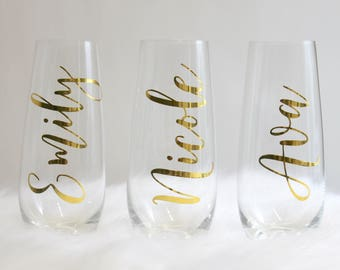 Personalized Stemless Flute, bridesmaid gift, Champagne Glasses, Champagne Flute, bridesmaid glasses,  Wedding Party Gift, gold, silver
