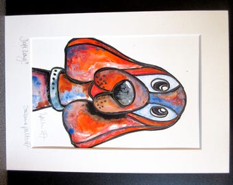 Daft Dawg!!!!.....An original watercolour, pen and pastel painting by Suzanne Patterson.Stylised