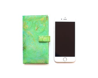 Handmade Green Leather iPhone 6/6S flip case wallet folio cover