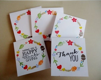 6 Thanksgiving or Thank you mini note cards - your choice of sentiment - Fall mini cards with envelopes - 3 x 3 - handmade - Autumn leaves
