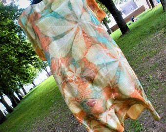 Eco Print Silk Dress Natural Dyeing on Silk, silk, gift for her,Unique dress, Natural Plant Dyed, Eco Friendly Summer Silk Clothing,Handmade