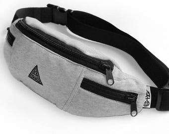Hip Pack Fanny Bag Fanny Pack Bum Bag Hip Bag Grey Mouse Gray Cotton Fabric Psiakrew