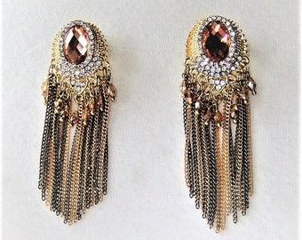 Statement earrings nude copper earrings screw grey gold Oriental