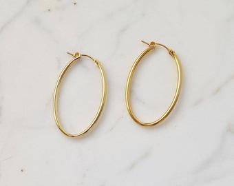 Gold hoop earrings , oval hoop earrings , gold earring,  14K goldfilled earrings