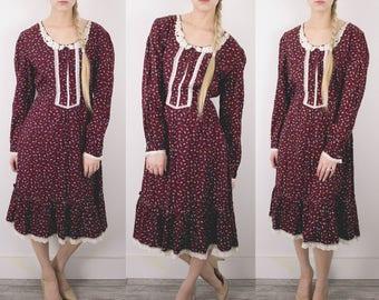 Vintage 70s Wine Floral Prairie Dress / Tie Back Lace 1970s Peasant Midi Boho Hippie Bohemian Sun Dress Medium Dress S62