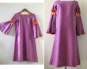 vintage 60's S HOWARD HIRSH designer purple groovy dress - small