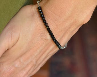 Black Crystal Bead Bracelet 2 Educate with Silver Beads