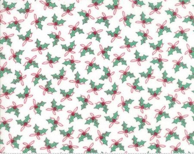 Sugar Plum Christmas- Holly Trees in White- Moda