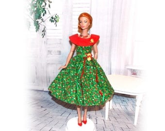 """Fashion Doll Clothes  for 11 1/2"""" to 12"""" Dolls """"Christmas Green"""" Dress with Snaps (Clothes only, Poppy Parker doll not included)"""