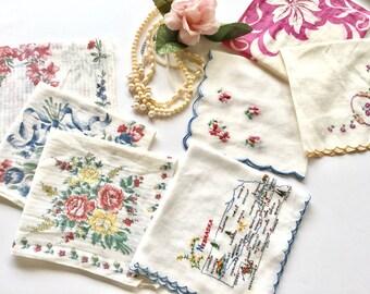 Vintage Lot of Floral Handkerchiefs, Collectors Nebraska Handkerchief, White Cotton Embroidered Floral Hankies