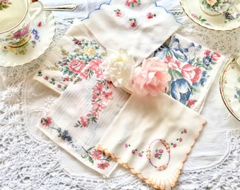 Vintage Lot of Five Floral Handkerchiefs,Embroidered Floral Hankies Collectors Hankies White Cotton