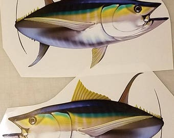 High resolution yellowfin tuna decal, yellowfin tuna sticker, boat graphics, yellowfin
