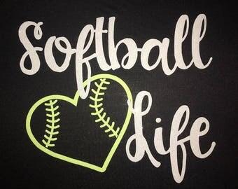 Women's Softball Life with Heart Glitter Shirt