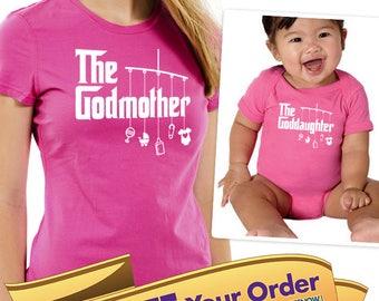 godmother shirt, godfather shirt & godson/goddaughter matching onesie or shirt (mobile toys style)  |  baptism shirt (note sizes @ chkout)