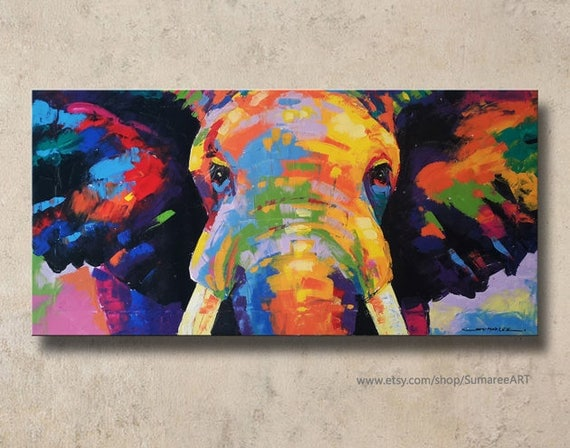 Rainbow elephant wall decor paintings Colorful elephant home decor