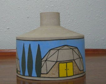 Ceramic Geodesic Dome Houses Sculpture Vase