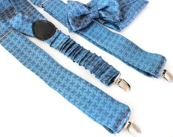 Suspenders with bow tie and Handkerchief,blue houndstooth check