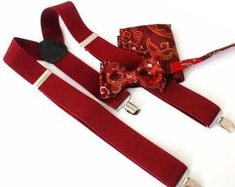 Suspender with bow tie and Hanki, bordeau