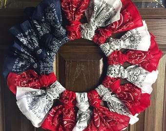Fourth of July Decor - Patriotic Decor - Patriotic Wreath - Bandana Wreath - Red White and Blue Wreath - Door Wreath - 4th of July Decor