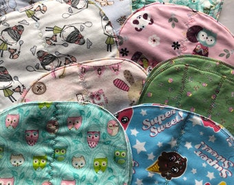 "Baby flannel lined burp cloths (nursery prints  ) 16 1/4"" long x 10 1/4""  widest point"