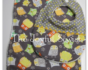 Owls and Dots Bib & Burp cloth Set, Yellow and Gray Cotton Bib and Burp cloth Set
