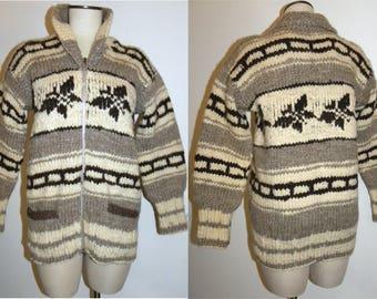 Vintage COWICHAN Sweater / True Vintage - Vancouver Canada / hand knit wool ZIP Cardigan / Jacket Jumper