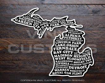 Michigan Cities Vinyl Decal Sticker