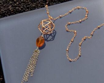 Rosegold Sacred Geometry Necklace, Icosahedron Necklace, Geometric 3D Necklace