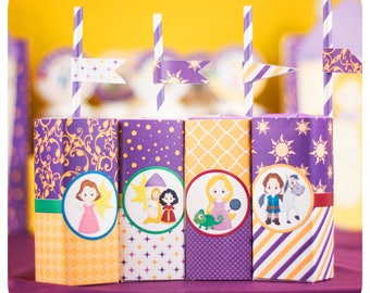 Tangled party; Tangled Birthday Party; Tangled Juice Box Wrappers; Rapunzel Party; Tangled Party Decor; Tangled; Tangled Birthday