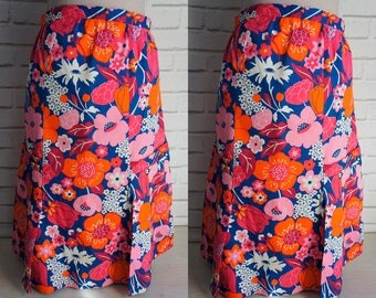 70s Flower Power Vintage Skirt - Orange, red and Pink floral print skirt.