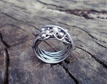 Wire Boho Ring,  Sterling Silver Rings, Boho Jewelry  Ring, Boho Ring, Hippie Ring, Knit Crochet Wide Ring Boho Fashion