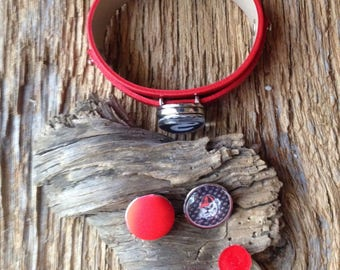 UGA Bulldogs snap chunk bracelet and acrylic red glitter earrings: personalized monogram snap chunk and earrings, custom Georgia bracelet